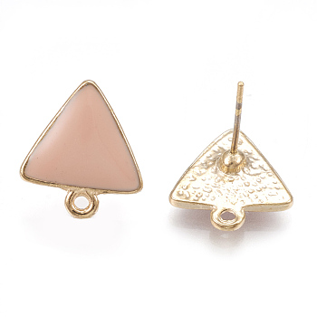 Alloy Enamel Stud Earring Findings, with Loop, Triangle, Light Gold, Pink, 15x13.5mm, Hole: 1.5mm; Pin: 0.7mm
