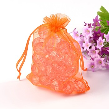 OrangeRed Organza Bags, Mother's Day Bags, Rectangle, OrangeRed, about 10cm wide, 15cm long