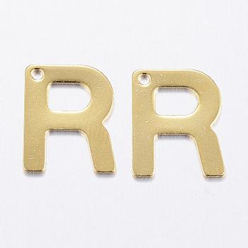 Encantos de 304 acero inoxidable, letter.r, dorado, 11x9x0.8mm, agujero: 1 mm