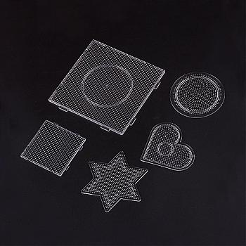 Pegboards for 2.5mm Mini Fuse Beads, Square & Star & Heart & Flat Round, Clear, 75~140x75~140x4.5~6mm; 5pcs/set