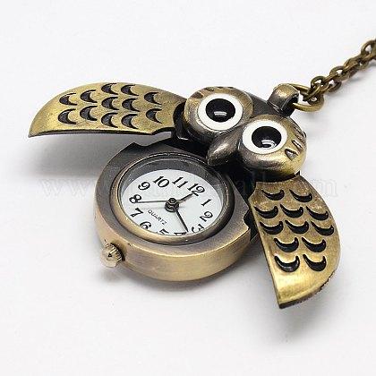 鉄チェーンを有する合金フクロウの翼の設計開閉式ペンダント懐中時計のネックレスX-WACH-M011-01-1