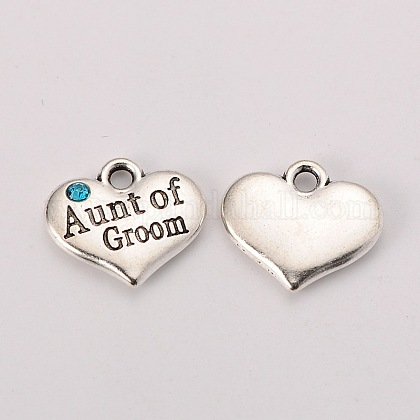 Tono de plata antigua del corazón del estilo tibetano con la tía de charms rhinestone novioTIBEP-N005-01A-1
