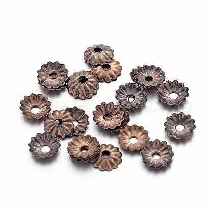 Tapas de abalorios de flor de hierro de bronce antiguoX-IFIN-D023-AB-NF-1