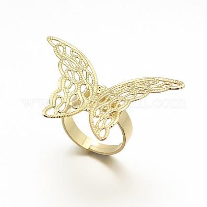 Componentes de base del anillo de filigrana de bronce ajustableX-KK-L054-04-1
