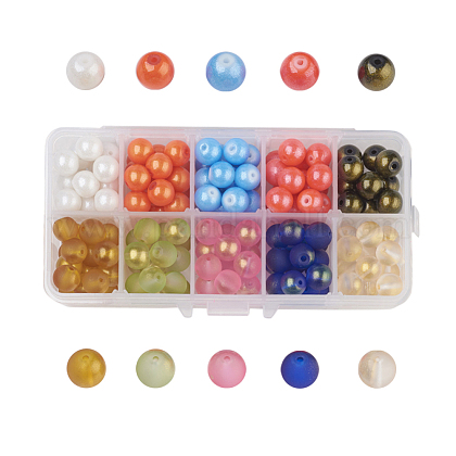 10 Colors Spray Painted Glass Beads DGLA-JP0001-03-10mm-1