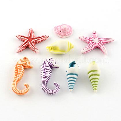 Abalorios tema del océano acrílico estilo artesanalSACR-S757-01-1