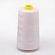 Hilo de coser de fibra de poliéster 100% hilado, blanco, 0.1 mm; aproximamente 5000 yardas / rodillo