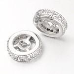 Steering Wheel Brass Micro Pave Cubic Zirconia Beads, Platinum, 10x3mm, Hole: 1mm