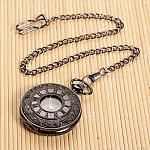 Openable Flat Round Alloy Pendant Pocket Watch, Quartz Watches, with Iron Chain, Gunmetal, 355mm; Watch Head: 59x47x14mm