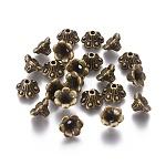 Tibetan Style Bead Caps, Lead Free & Nickel Free, Flower, Antique Bronze, 9x5mm, Hole: 1.5mm