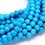 Природные Синьцзяне бирюзовый круглых прядей шарик, окрашенная и подогревом, голубой, 6 мм, Отверстие : 1 мм; около 70 шт / нитка, 15.55