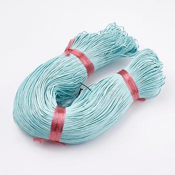 Cordón de algodón encerado chino, Pulsera de macramé collar fabricación de joyas, cian, 1.5mm, aproximamente 350 m / paquete