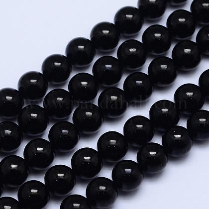 Grade A Natural Tourmaline Round Bead StrandsG-L417-10-8mm-1