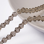 Half-Handmade Glass Beads Strands, Faceted, Bicone, Gray, about 4mm in diameter, hole: about 0.5mm, 70pcs/strand, 10.63
