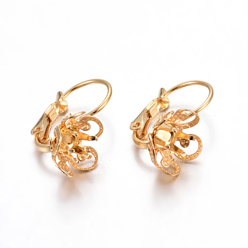 304 Stainless Steel Leverback Earring Findings, Flower, Golden, Tray: 4mm, 19x20x13mm, Pin: 0.7mm
