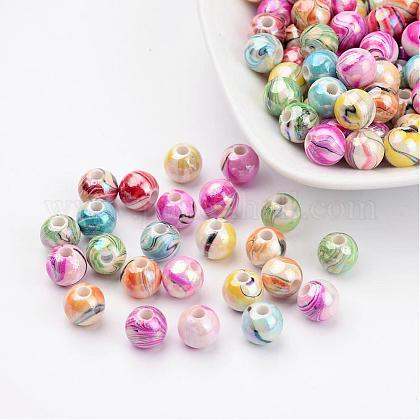AB Color Wave Printed Acrylic Beads MACR-Q151B-M-1