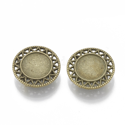 Tibetan Style Alloy Slide Charms Cabochon Settings TIBE-Q086-038AB-FF-1