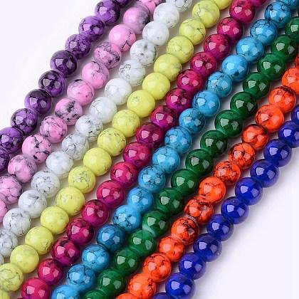 Spray Painted Glass Bead StrandsGLAD-S075-6mm-M-1
