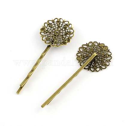 Filigree Flower Tray Vintage Iron Hair Bobby Pin FindingsMAK-Q001-003AB-1