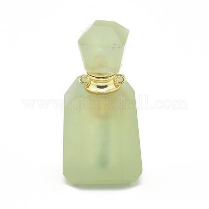 多面的な天然ヒスイの開閉可能な香水瓶ペンダントG-E556-04A-1