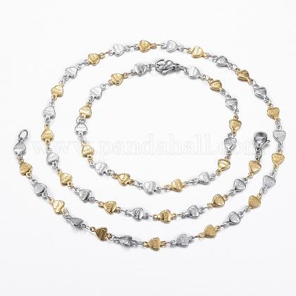 304 corazón de acero sistemas de la joya de la cadena de enlace inoxidableSJEW-H103-02GP-1