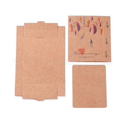 Kraft Paper Boxes and Earring Jewelry Display Cards CON-L015-B01-1