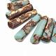 Assembled Bronzite and Synthetic Aqua Terra Jasper Beads StrandsG-S326-005-3