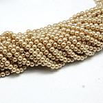 Perlas redondas de perlas de vidrio teñido ambiental, cordón de algodón rosca, burlywood, 4~4.5mm, agujero: 0.7~1.1 mm; aproximamente 104 unidades / cadena, 15