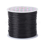 Flat Elastic Crystal String, Elastic Beading Thread, for Stretch Bracelet Making, Dyed, Black, 0.8mm, 60m/roll