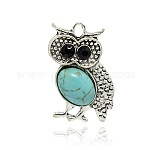 Antique Silver Tone Alloy Synthetic Turquoise Bird Pendants, with Rhinestones, Owl for Halloween, SkyBlue, 36x24x7mm, Hole: 3mm