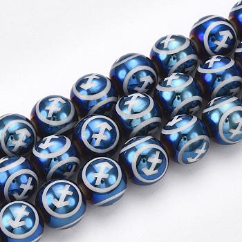 Galvanisieren Glasperlen, Runde mit Konstellationen / Sternbild, Stahlblau, Schütze, 10x9.5~10 mm, Bohrung: 1.2 mm; ca. 30 Stk. / Strang, 11.2
