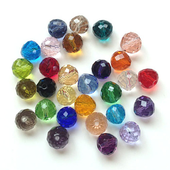 Mixed Color Imitation Austrian Crystal Beads, Grade AAA, Faceted, Teardrop, Mixed Color, 6mm, Hole: 0.7~0.9mm