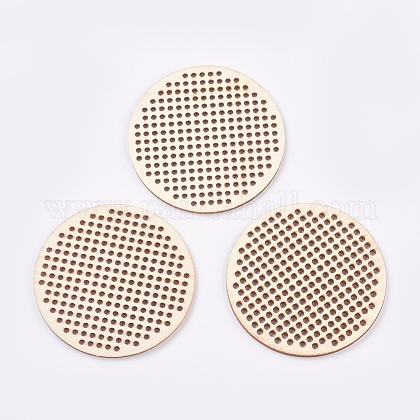 木製針クロスステッチ刺繍ブランクディスクWOOD-L006-21-1