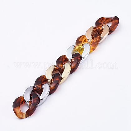 Imitación de piedras preciosas estilo hecho a mano acrílico bordillo cadenasAJEW-JB00536-03-1