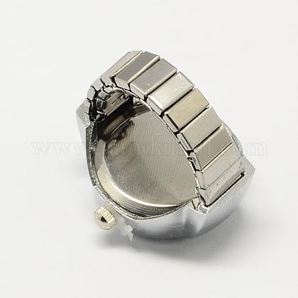 ホワイトゴールドトーンアイロンストレッチリングクォーツ時計RJEW-R119-10-1