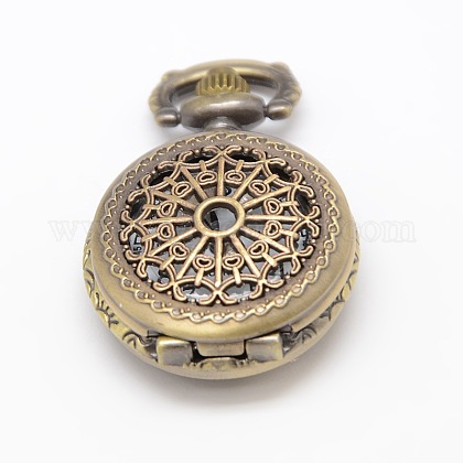 Cabezas planas huecos cosecha reronda reloj de cuarzo de aleación de reloj de bolsillo el collar del colganteWACH-M109-02-1