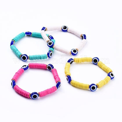 Evil Eye Stretch Bracelets BJEW-JB05075-1