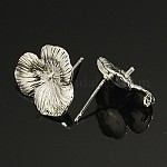 Изделия из латуни, с петлей, без свинца, без кадмии и без никеля, цветок, серебристый цвет, диаметром около 16 мм , 17.5 мм длиной, штифты : 0.8 мм, отверстие : 1 мм