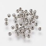 CCB Plastic Beads, Round, Platinum, 3mm, Hole: 0.6mm