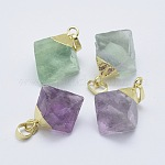 Natural Fluorite Pendants, with Brass Findings, Cone, Golden, 25~28x18~25x14.5~20mm, Hole: 4x6.5mm