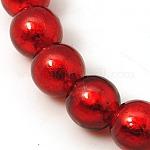 赤い丸い手作り銀箔ガラスビーズ, 10mm, 穴:2mm