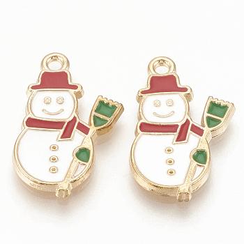 Colgantes de esmalte de aleación, sin plomo y cadmio, muñeco de nieve, Navidad, la luz de oro, blanco cremoso, 22x13x2mm, agujero: 1.5 mm