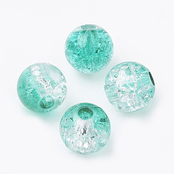 Turquoise Acrylic Beads, Transparent Crackle Style, Round, Turquoise, 8x7mm, Hole: 2mm; about 1840pcs/500g