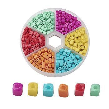 Cubo abalorios de la semilla de cristal, 6/0, agujero redondo, color mezclado, 3~7x3x3mm, agujero: 0.5 mm