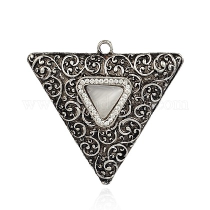 Triangle argent antique plaqué alliage chat yeux grands pendentifs PALLOY-J578-01AS-1
