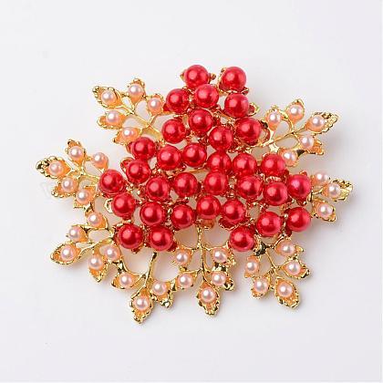Flores de aleación ambiental broches de seguridad perla de acrílicoJEWB-I009-02A-1