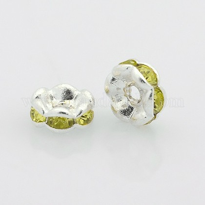 Silver Color Plated Flat Round Brass Acrylic Rhinestone Spacer BeadsRB-J466-09S-1
