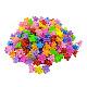 子供のヘアアクセサリー, プラスチックバンスクリップ, 花, ミックスカラー, 19x19mm、約100個/袋