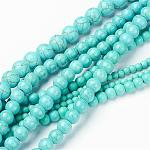 Mixed Size Synthetic Turquoise Round Bead Strands, 4~10mm, Hole: 1~1.5mmabout 40~90pcs/strand, 16inches