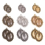 PH PandaHall 2 Sizes 3 Color Flat Oval Trays (45 Pcs) with Glass Cabochon Dome Tiles Clear Cameo (45 Pcs), Total 90 Pieces (45 Sets) for Crafting DIY Jewelry Making